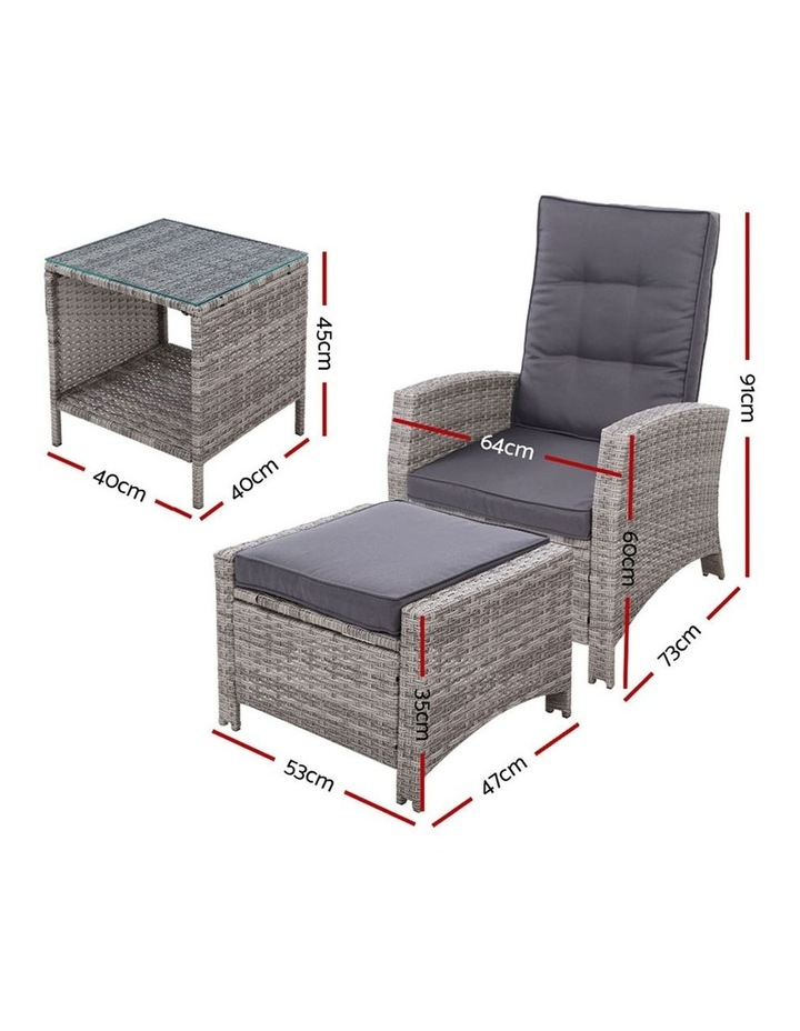 Outdoor Setting Recliner Chair Table Set Wicker lounge Patio Furniture image 2