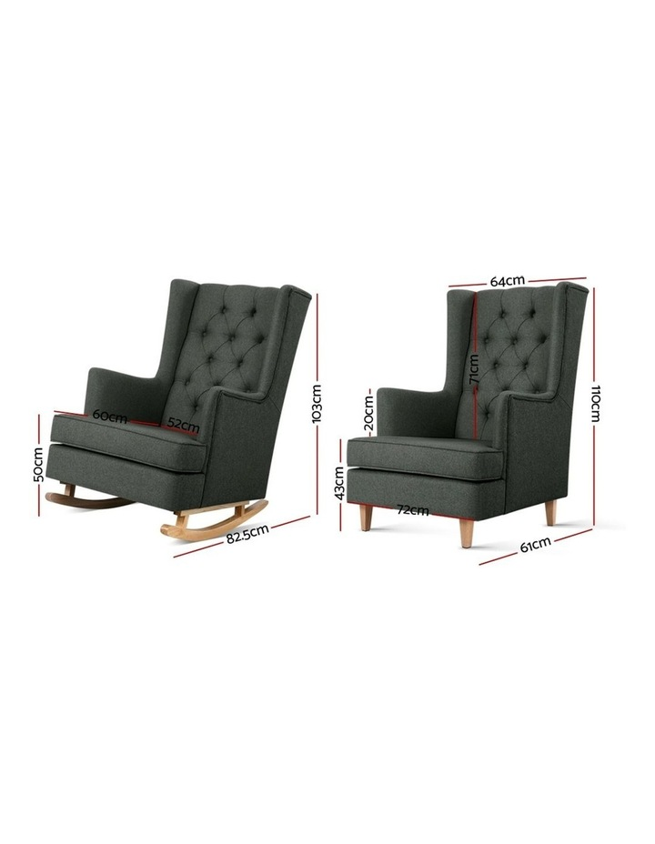 Rocking Armchair Feeding Chair Fabric Armchairs Lounge Recliner Charcoal image 2