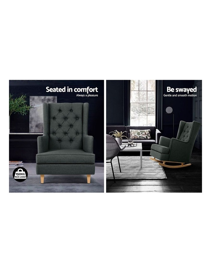 Rocking Armchair Feeding Chair Fabric Armchairs Lounge Recliner Charcoal image 5