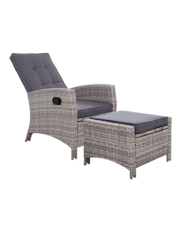 Recliner Chair Sun lounge Wicker Outdoor Furniture Patio Garden Ottoman image 1