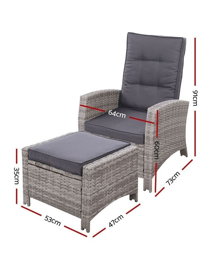 Recliner Chair Sun lounge Wicker Outdoor Furniture Patio Garden Ottoman image 2