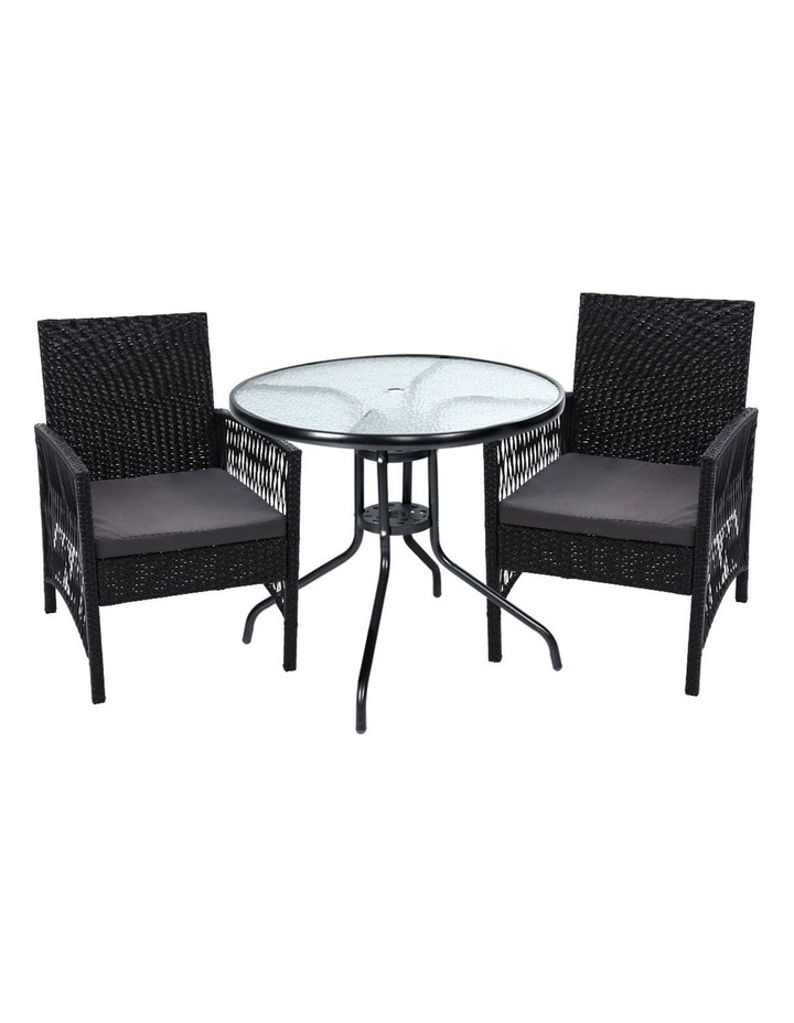 Outdoor Furniture Dining Chairs Rattan Garden Patio Cushion Black 3PCS Tea Coffee Cafe Bar Set image 1