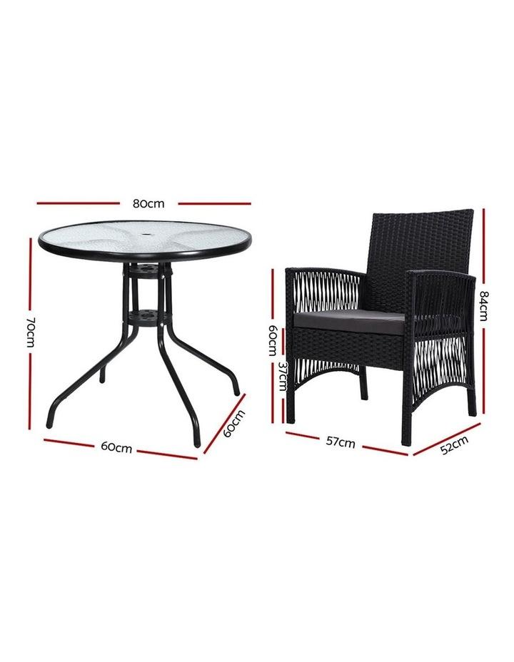 Outdoor Furniture Dining Chairs Rattan Garden Patio Cushion Black 3PCS Tea Coffee Cafe Bar Set image 2