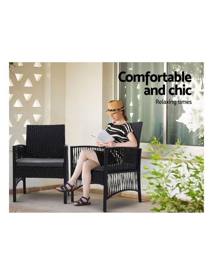 Outdoor Furniture Dining Chairs Rattan Garden Patio Cushion Black 3PCS Tea Coffee Cafe Bar Set image 3