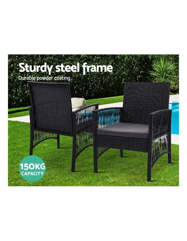 Outdoor Furniture Dining Chairs Rattan Garden Patio Cushion Black 3PCS Tea Coffee Cafe Bar Set image 4