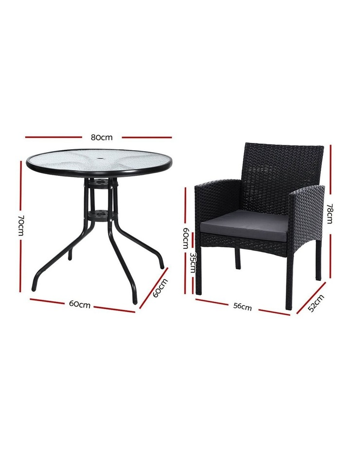 Outdoor Bistro Chairs Patio Furniture Dining Chair Wicker Garden Cushion Tea Coffee Cafe Bar Set image 2