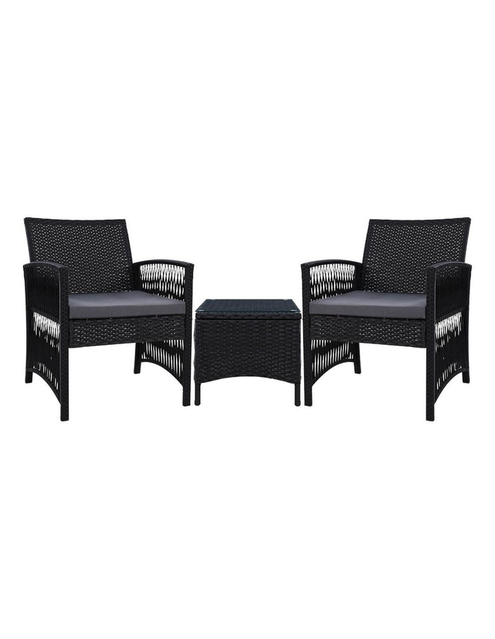 Patio Furniture Outdoor Bistro Set Dining Chairs Setting 3 Piece Wicker image 1