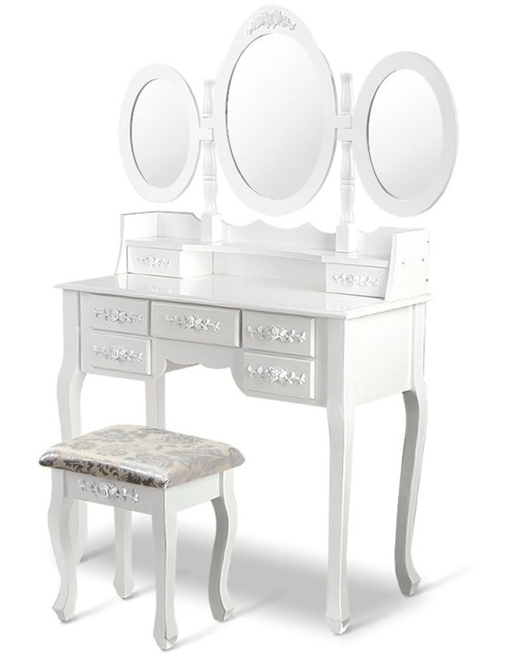 Dressing Table Stool Mirror Jewellery Cabinet 7 Drawers White Organizer image 1
