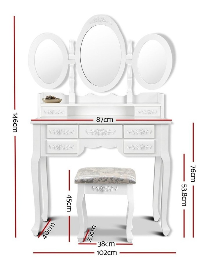 Dressing Table Stool Mirror Jewellery Cabinet 7 Drawers White Organizer image 2