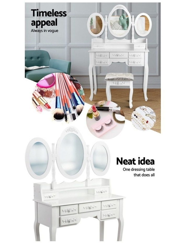Dressing Table Stool Mirror Jewellery Cabinet 7 Drawers White Organizer image 3