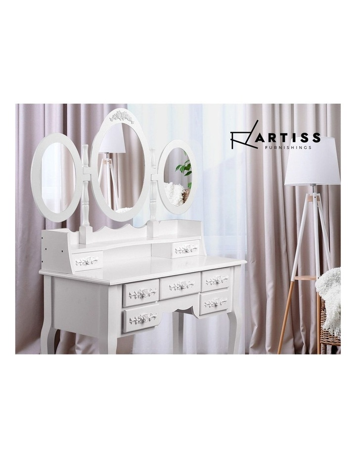 Dressing Table Stool Mirror Jewellery Cabinet 7 Drawers White Organizer image 6