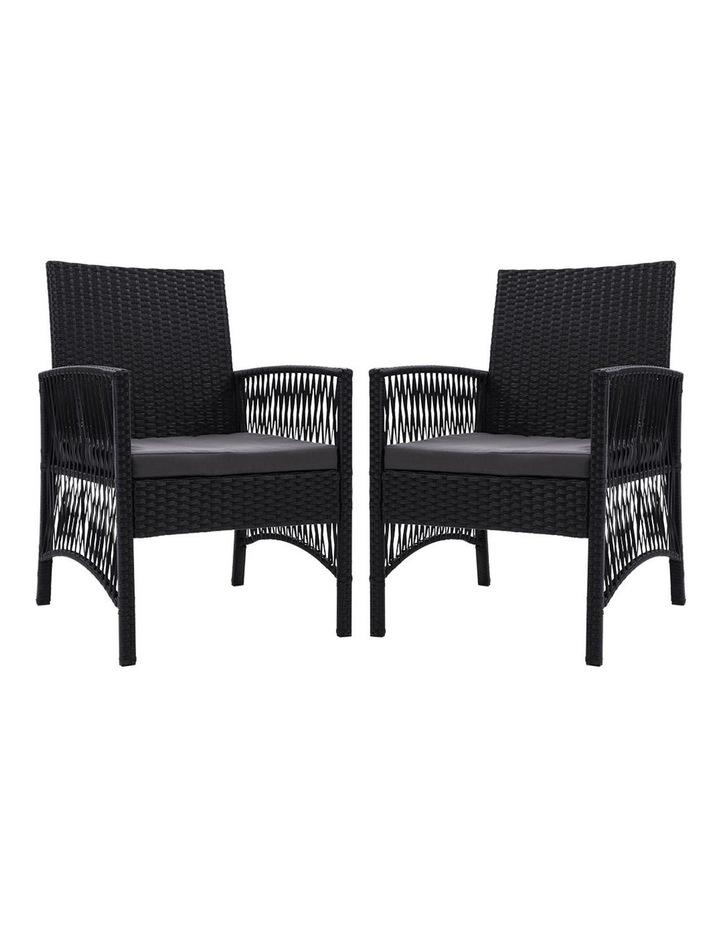 Outdoor Furniture Dining Chairs Rattan Garden Patio Cushion Black x2 Gardeon image 1