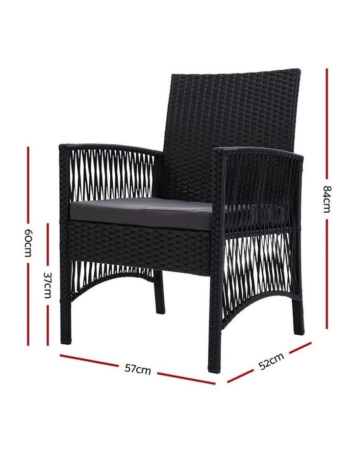 Outdoor Furniture Dining Chairs Rattan Garden Patio Cushion Black x2 Gardeon image 2