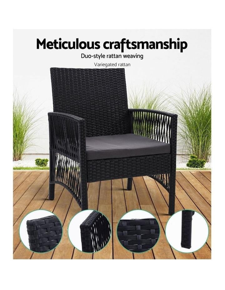 Outdoor Furniture Dining Chairs Rattan Garden Patio Cushion Black x2 Gardeon image 4