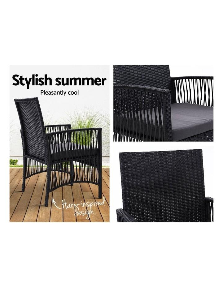 Outdoor Furniture Dining Chairs Rattan Garden Patio Cushion Black x2 Gardeon image 5