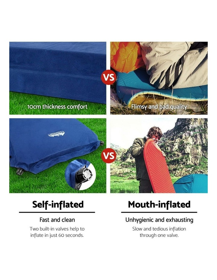 Self Inflating Mattress Camping Sleeping Mat Air Bed Pad Double Navy 10CM Thick image 5