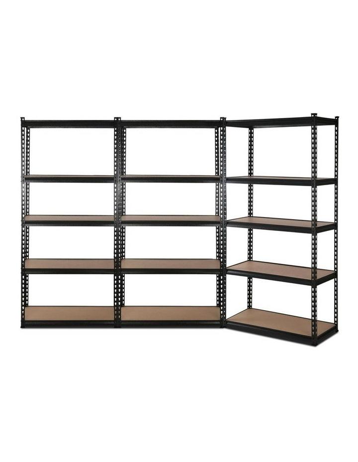 3x1.8M 5-Shelves Steel Warehouse Shelving Racking Garage Storage Rack Black image 1