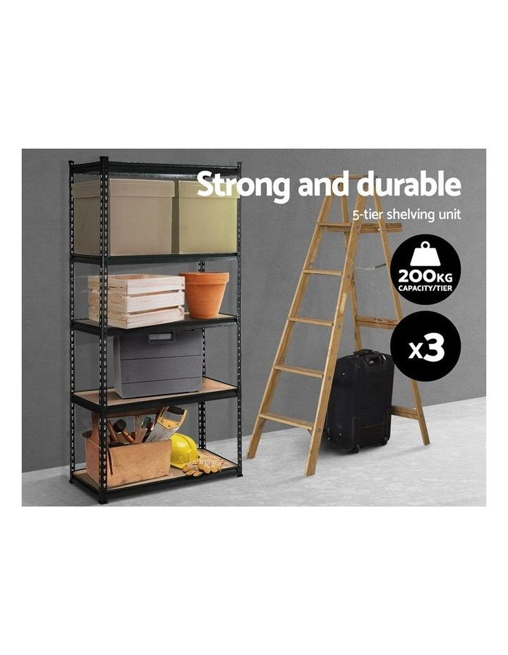 3x1.8M 5-Shelves Steel Warehouse Shelving Racking Garage Storage Rack Black image 3