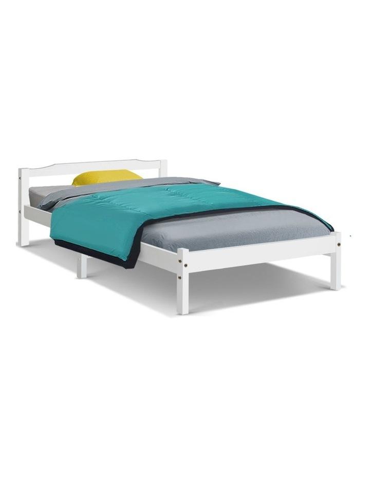 Single Size Wooden Bed Frame Mattress Base Timber Platform White image 1