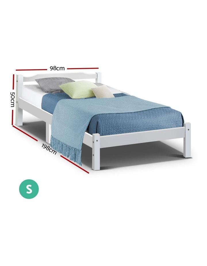 Single Size Wooden Bed Frame Mattress Base Timber Platform White image 2