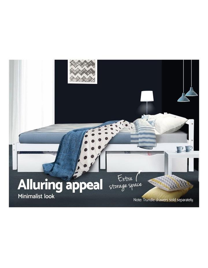 Single Size Wooden Bed Frame Mattress Base Timber Platform White image 6