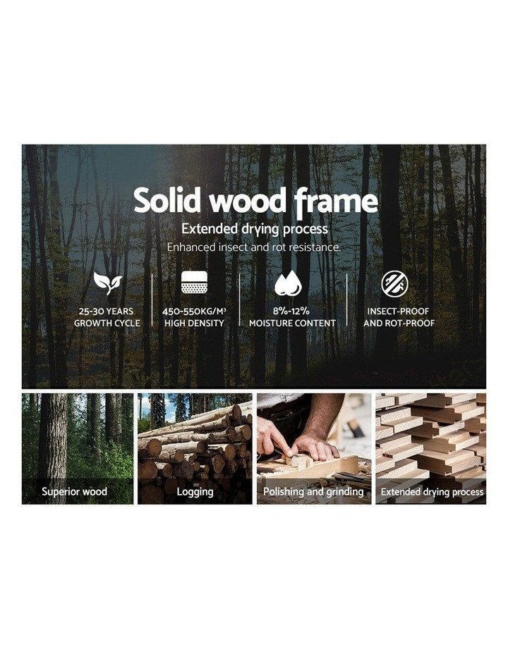 King Size Bed Frame Base Mattress Platform Fabric Wooden Grey NEO image 4