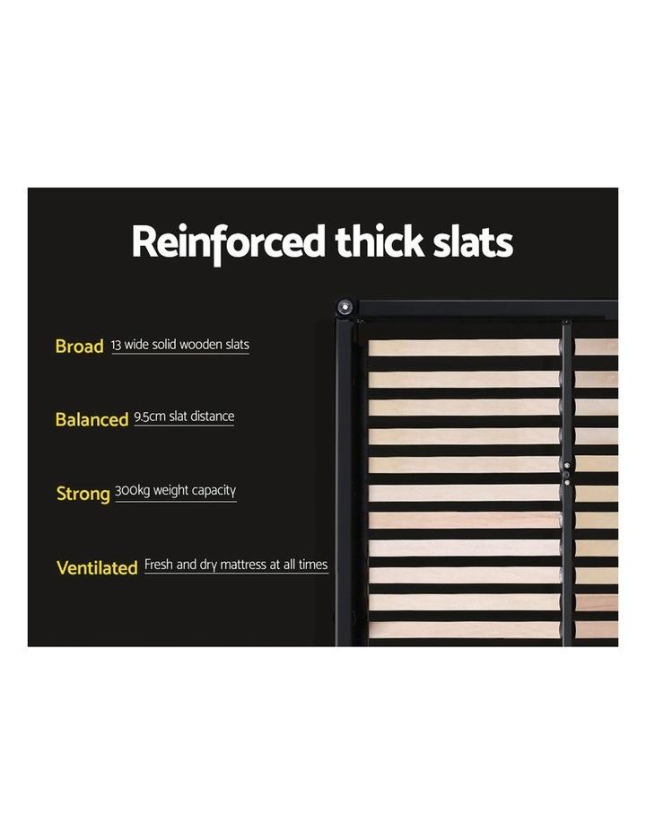King Size Bed Frame Base Mattress Platform Fabric Wooden Grey NEO image 5