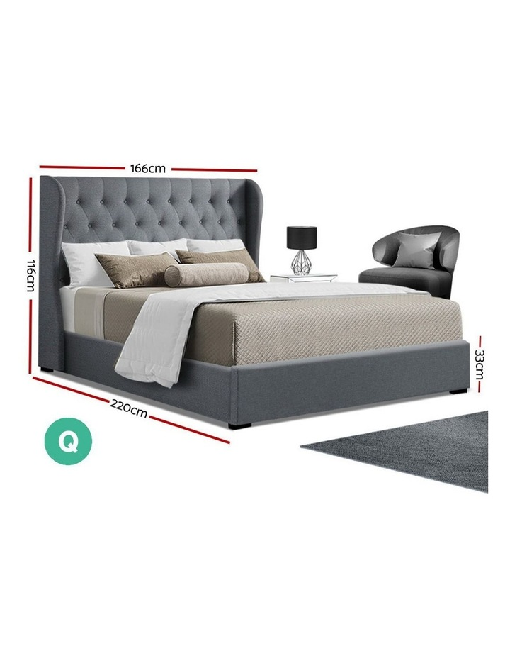 Queen Size Gas Lift Bed Frame Base With Storage Mattress Grey Fabric Wooden image 2