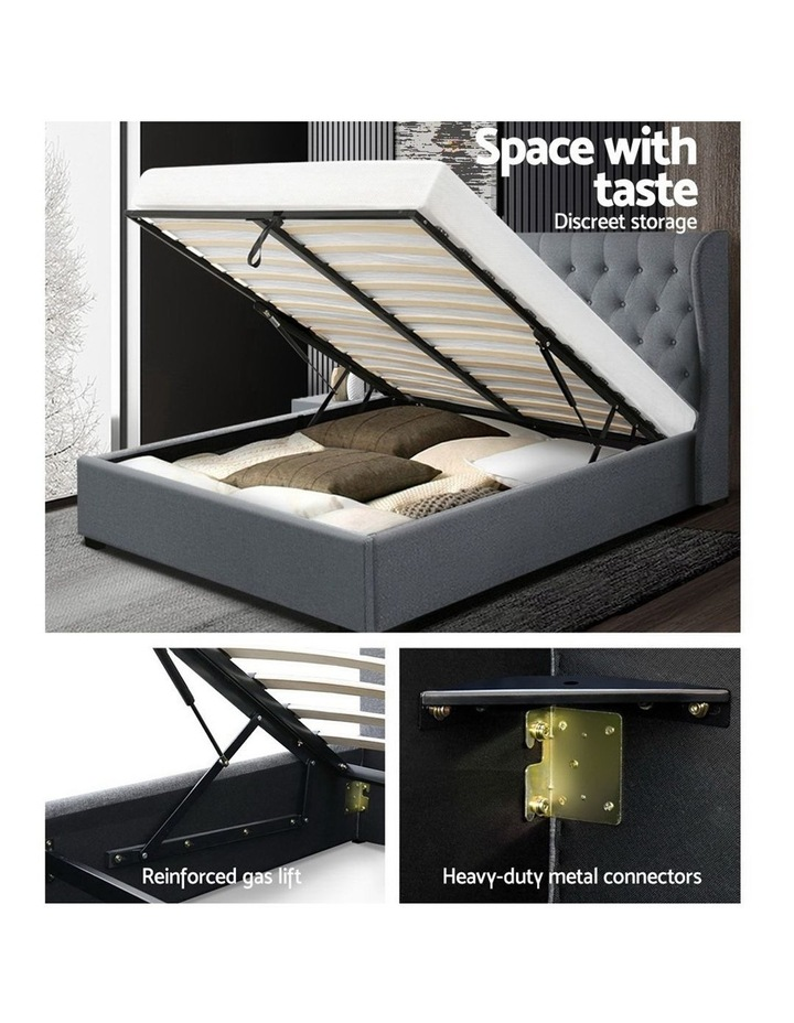 Queen Size Gas Lift Bed Frame Base With Storage Mattress Grey Fabric Wooden image 4