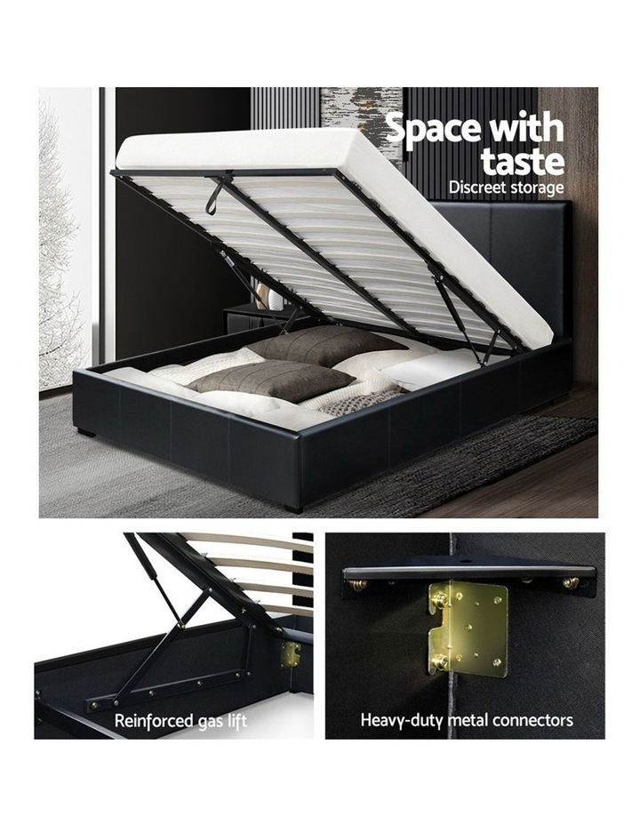 Double Size Bed Frame Gas Lift PU Leather Wooden Storage Steel Black image 4