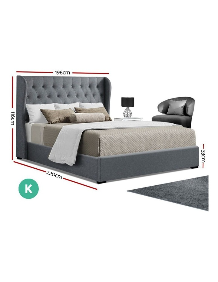 King Size Gas Lift Bed Frame Base With Storage Mattress Grey Fabric Wooden image 2