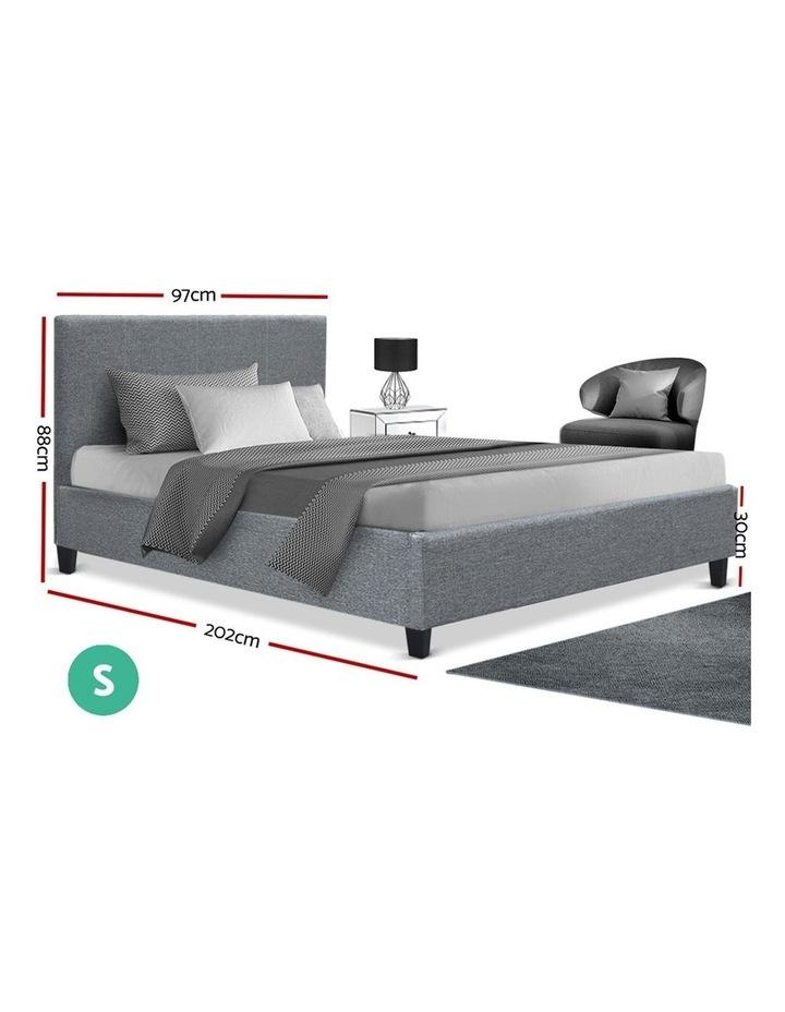 Single Size Bed Frame Base Mattress Platform Fabric Wooden Grey NEO image 2