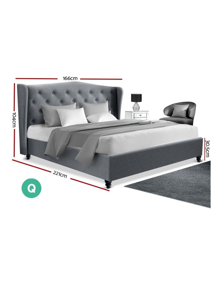Queen Size Wooden Upholstered Bed Frame Headborad - Grey image 2