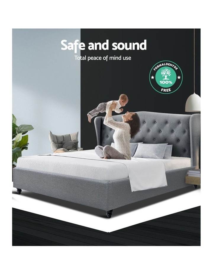 Queen Size Wooden Upholstered Bed Frame Headborad - Grey image 6