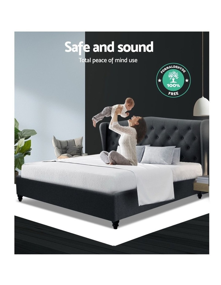King Size Bed Frame Base Mattress Platform Fabric Wooden Charcoal PIER image 6