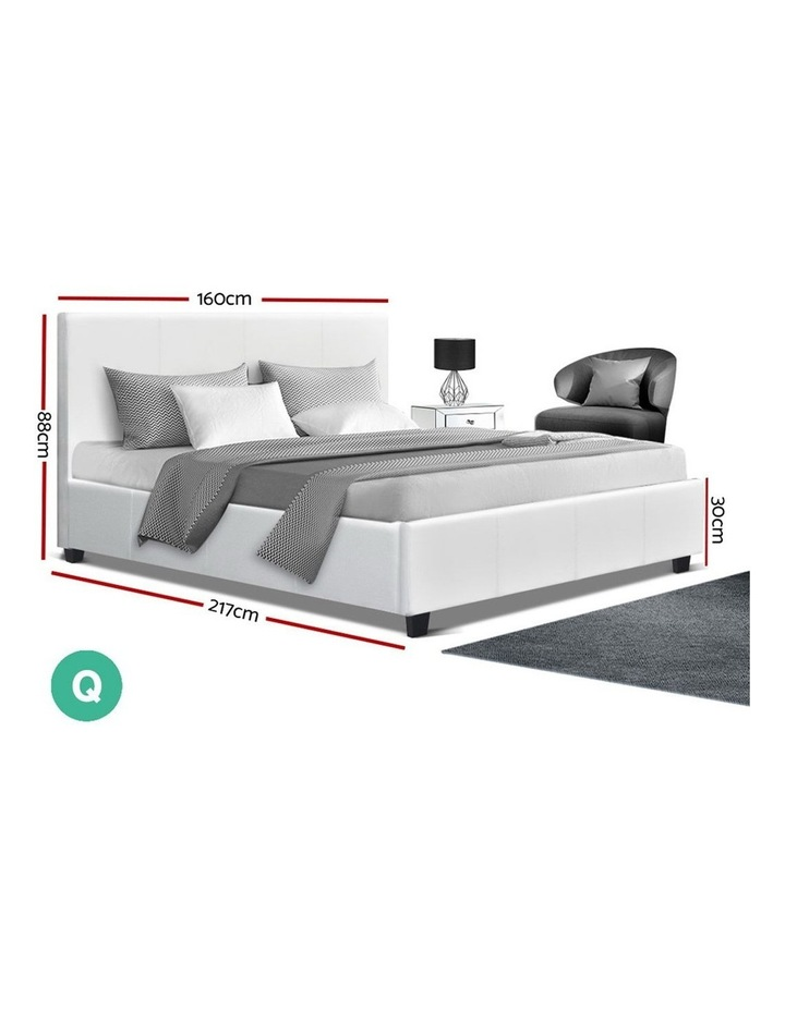 Queen Size Bed Frame Base Mattress Platform White Leather Wooden NEO image 2