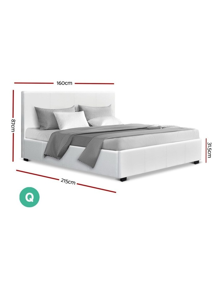 Queen Size Bed Frame Gas Lift PU Leather Wooden Storage Steel White image 2