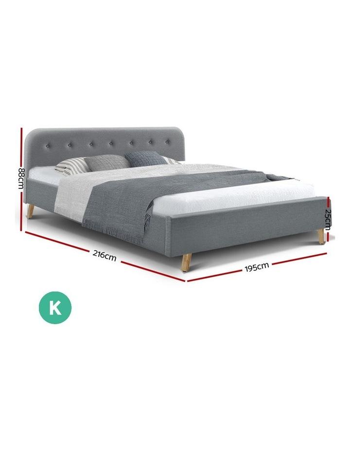 King Size Bed Frame Base Mattress Fabric Wooden Grey POLA image 2