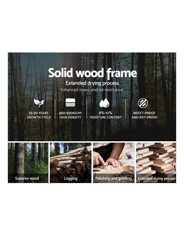 King Size Bed Frame Base Mattress Fabric Wooden Grey POLA image 5