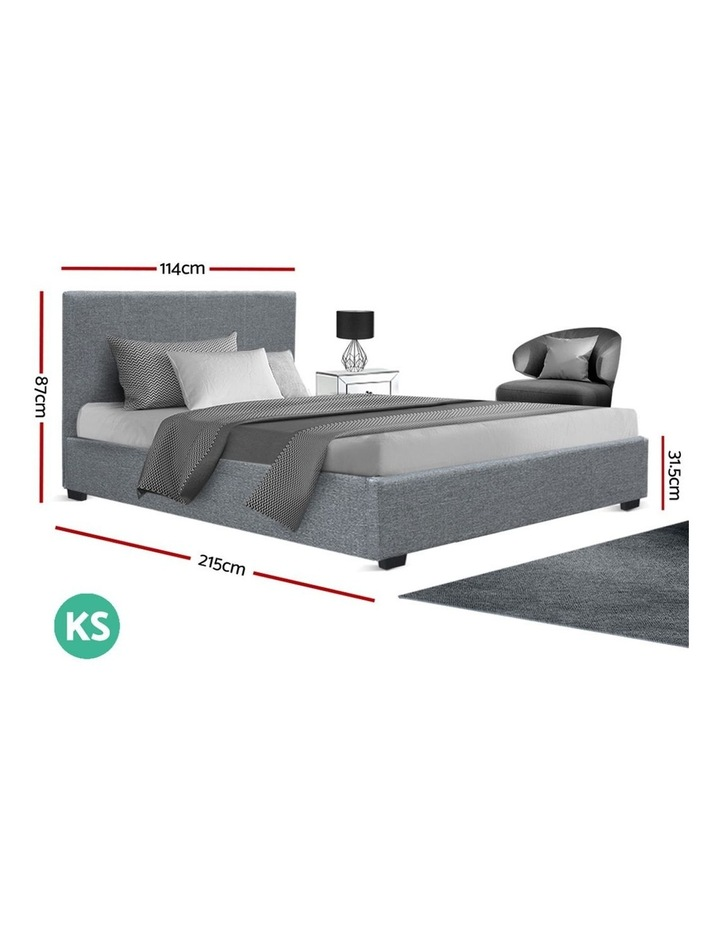King Single Size Gas Lift Bed Frame Base With Storage Mattress Fabric image 2