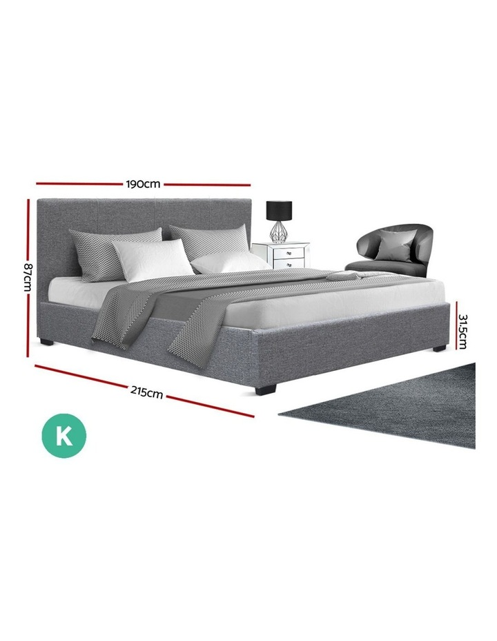 King Size Gas Lift Bed Frame Base With Storage Mattress Fabric Wooden image 2