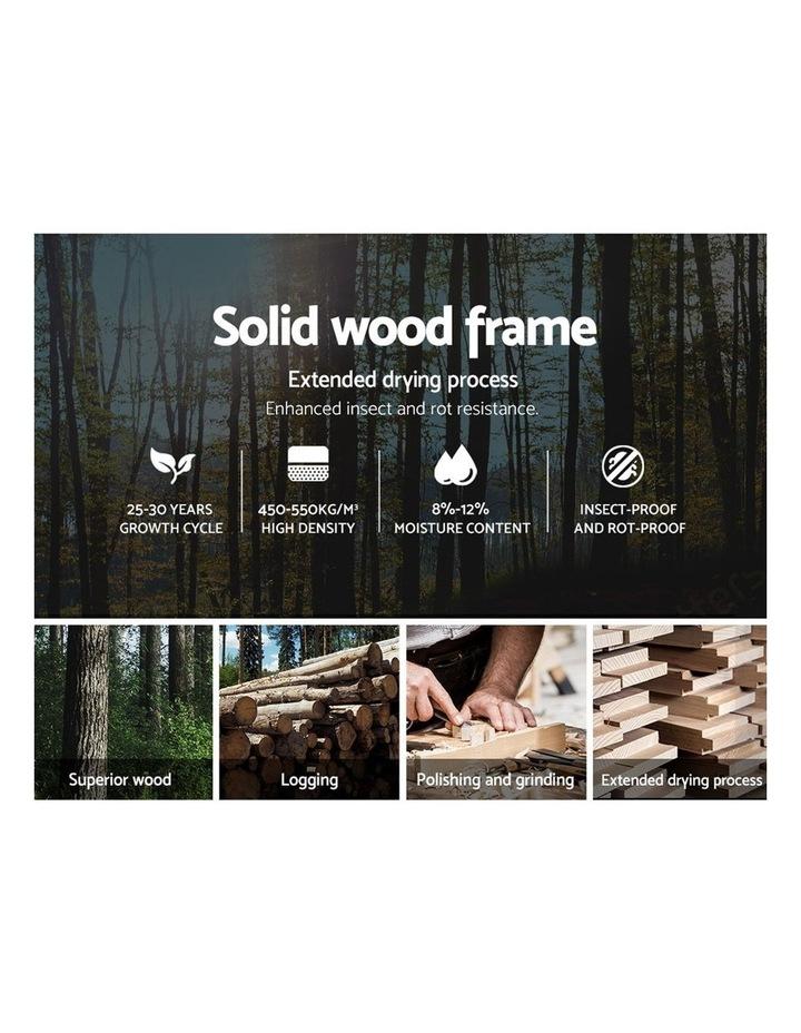 Double Full Size Bed Frame Base Mattress Wooden Beige POLA image 5