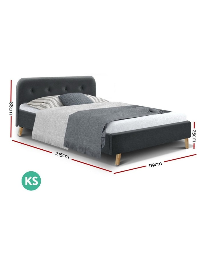 King Single Size Bed Frame Base Mattress Wooden Charcoal POLA image 2