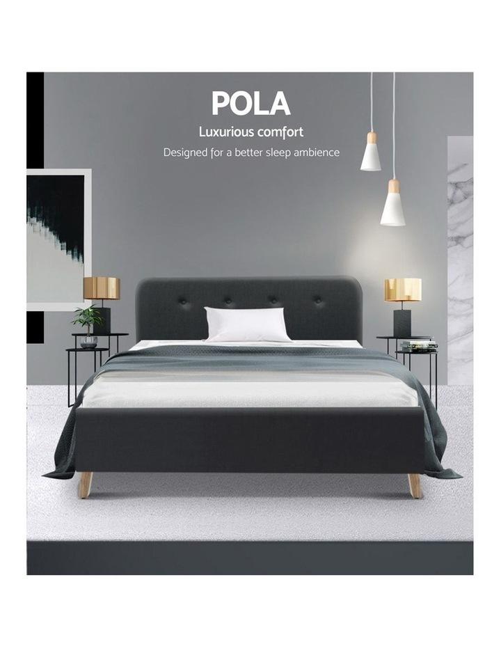 King Single Size Bed Frame Base Mattress Wooden Charcoal POLA image 3