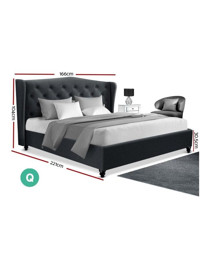 Queen Size Bed Frame Base Mattress Platform Fabric Wooden Charcoal PIER image 2