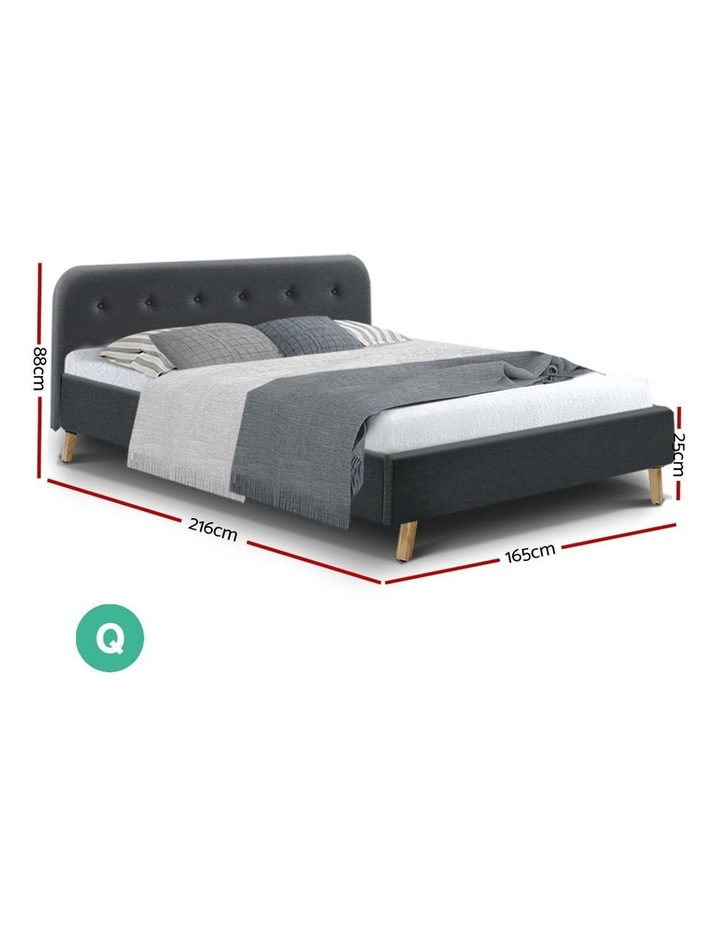 Queen Size Bed Frame Base Mattress Wooden Charcoal POLA image 2