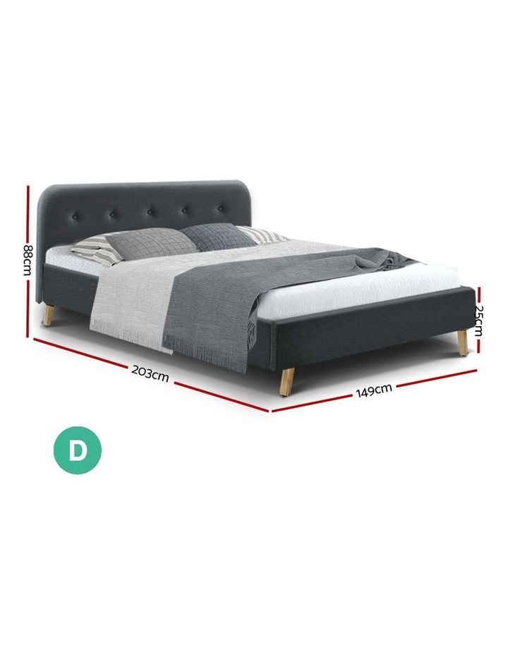Double Full Size Bed Frame Base Mattress Wooden Charcoal POLA image 2