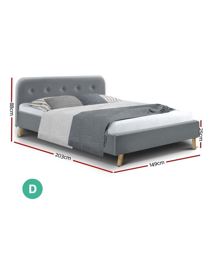 Double Full Size Bed Frame Base Mattress Wooden Grey POLA image 2