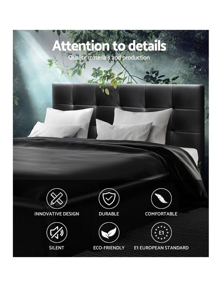 Queen Size Bed Frame Base Mattress Platform Black Leather Wooden SOHO image 4