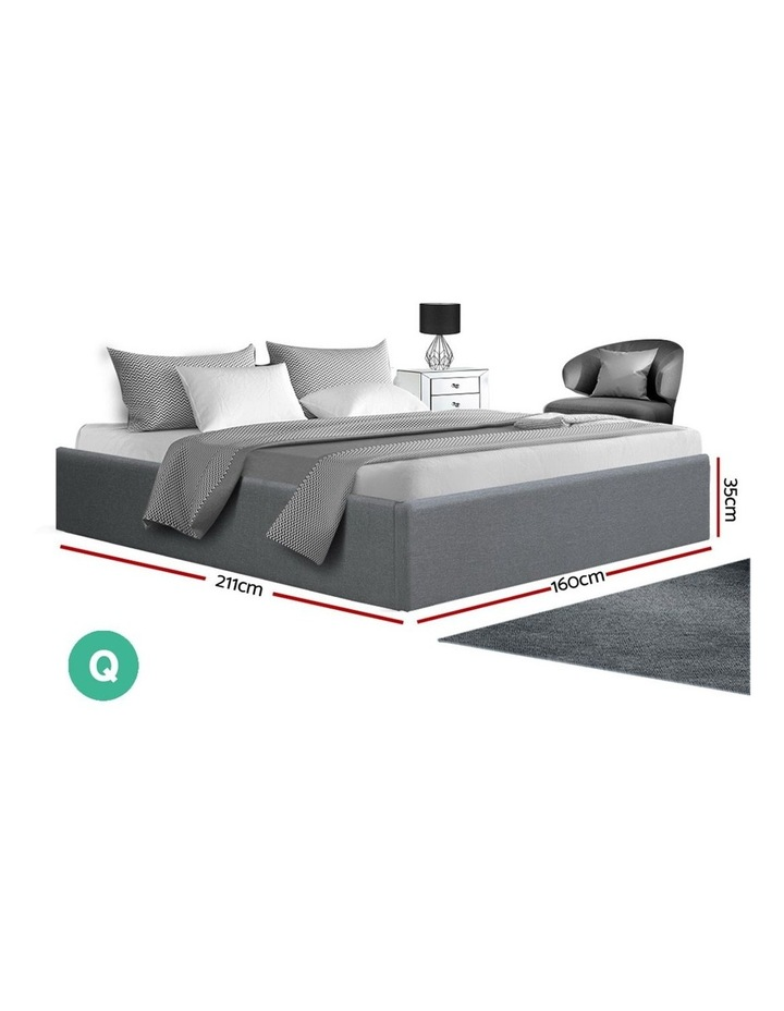 Queen Size Gas Lift Bed Frame Base With Storage Platform Fabric image 2